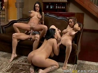 Angelina Valentine shares BF's fuckstick with her chesty friends Carmella Bing and Sienna West