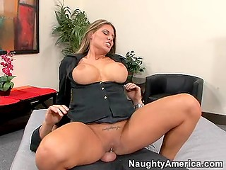 Business lady Charisma Cappelli can't overcome sexual tension so she saddles partner's cock with pussy