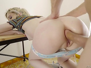 Fan of foot fetish buries throbbing meatstick deep into tight asshole of adorable blonde Lexi Lore