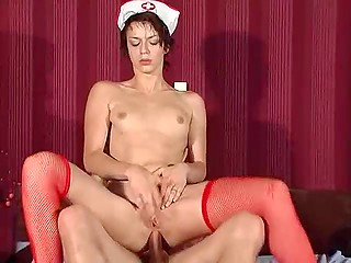 Red-haired nurse in sexy stockings cures naughty patient by anally riding his phallus till orgasm