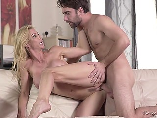 Handsome boy cheats on girlfriend with her chesty blonde stepmother Alexis Fawx who adores sex