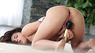 Beautiful slow masturbation of hot girl who has a best friend called Hitachi-vibrator helping her cum