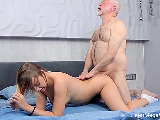 Old man liked tight purple shorts covering girl's ass and took them off to fuck cutie