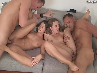 Boys get chicks naked and move on to drill cunts next to each other cumming over ass in no time