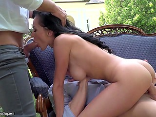 Brunette porn model gets it on with two men who have shared mouth and booty outdoors