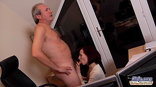 Young secretary calls old director's attention with naked body but soon gets fucked