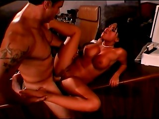 Big titted secretary decided to visit her boss after work and seduce him for a wild sex