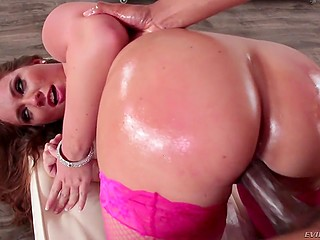 Big butt of swanky slut in pink fishnets is always ready to be oiled and drilled by a black stallion