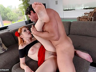 Spanish redhead with a flower in hair gives bearded husband tight pussy for dessert