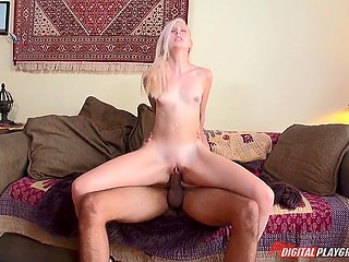 Platinum blonde young chick Alexa Grace maximizes sexual experience thanks to interracial fuck