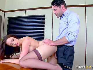 Pornstar Chanel Preston is fucked by brutal board member who is opposed to wearing condom during sex