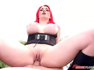 Red-haired British lovely gives in to driver's persuasion to show boobs then they stop for fuck