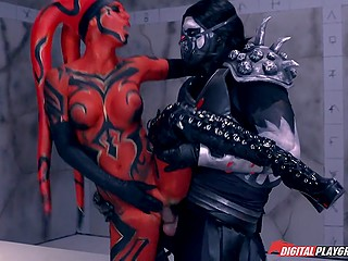 Scene from 'Star Wars: One Sith' porn parody where Darth Talon becomes Sith Lord's sex slave