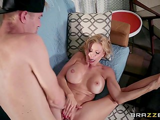 Blonde MILF Alexis Fawx with huge coconuts hires a guy to help with household chores and fuck her pussy
