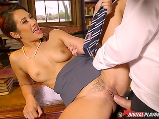Innocent student called in cabinet of headmistress Eva Lovia and forced to satisfy all her sexual needs