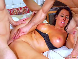 Bodacious cougar Reagan Foxx relaxes in bedroom with young lover and curly-haired stepson