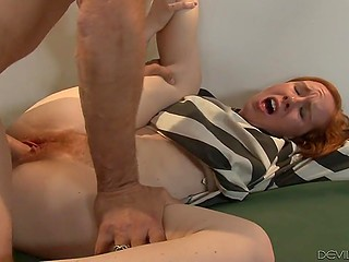 Perverted security guard sneaks in cell to fuck hairy peach of red-haired inmate Kierra Wilde