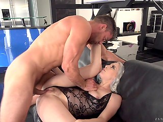 Excited Latin man actively drills blonde Cadence Lux making her peach explode with squirting