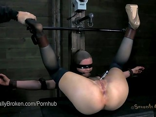 Crazy brunette ladies get dominated and banged in the throats by their hot BDSM master