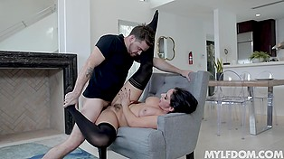 Obedient Latina MILF Sheena Ryder dominated and roughly drilled with partner's fat fuckstick