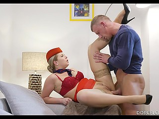 Anal sex is a good thing to welcome stewardess who has come home after a flight