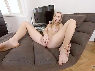 Attractive blonde slowly takes off all clothes and gently fingers her shaved cunny in VR porn video