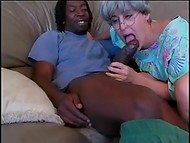 Grey-haired white woman still has a lot of passion and sexual hunger for a big black cock