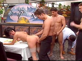 Hungarian brunette slut Rita Cardinale goes to restaurant and gets fucked in group sex session