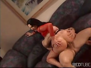 Hot brunette in red stockings allows her brutal sex partner to drill tight asshole as hard as he can