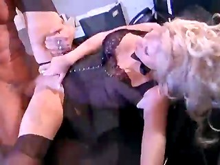 Gorgeous blonde secretary in exciting lingerie makes her boss wild after working day
