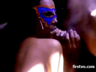 Mesmerizing Latina chick in purple mask isn't ashamed of fucking on the camera