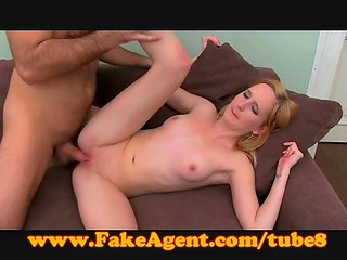 Pretty blonde girlfriend wants to earn a lot of money so she lets her ass to be banged by fake agent
