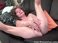 Skinny old woman undresses everything in front of the camera to show her body and hairy cunt