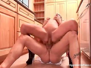 Delightful pornstar Nikki Benz with big breasts seduced strong penis of her happy fellow