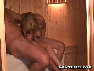Amateur blonde wife sucks dick and fucks in hot sauna