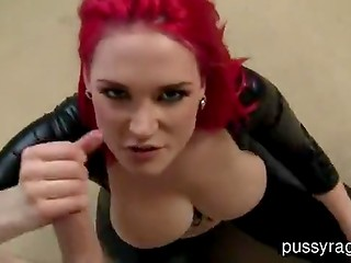 Busty red-haired slut in latex outfit enjoys POV pounding and a facial ending