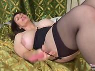 BBW Josephine James fucks her pussy with pink dildo 8