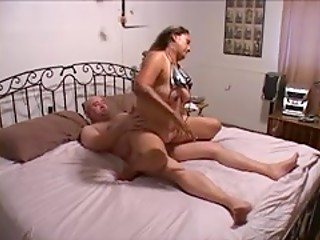 Mature latina gets butt fucked on big bed