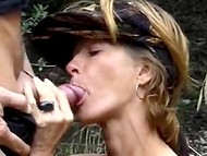 Good-looking French MILF was anally pounded and pissed in the forest