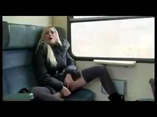 Pretty blonde whore gives amazing blowjob her old friend in the train
