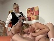 German doctor gives an advise and shows mature couple how to present amazing pleasure to each other