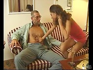 Delightful young ladies visited old men because brunette slut wanted to fuck one of them 5
