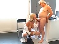 Young blonde nurse gets screwed by grandpa