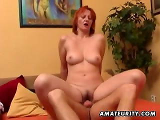 Student boy fucks red-haired granny in her horny hairy hole