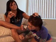 Cool foot-fetish scene by two young amateur lesbians, who decided to try something new