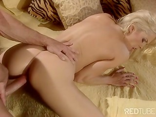 Romantic evening with beautiful blonde lady turns into passionate anal sex and ends with exciting swallowing