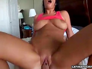 Tanned brunette babe with nice boobs and awesome ass rides cock in the POV action