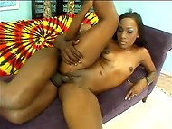 Black girl gets her black pussy creampied