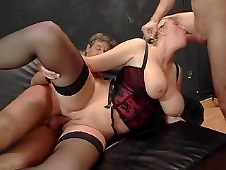 Busty blonde MILF gets gangbanged and double penetrated in the hard group sex video