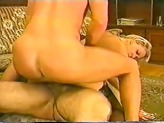 Vintage threesome double penetration scene by two fuckers and slutty blonde MILF